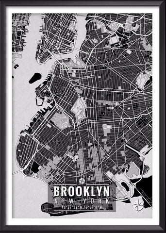 Brooklyn New York Map with Coordinates | Ideate Create Studio - Ideate Create Studio