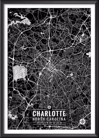 Charlotte North Carolina Map with Coordinates | Ideate Create Studio - Ideate Create Studio