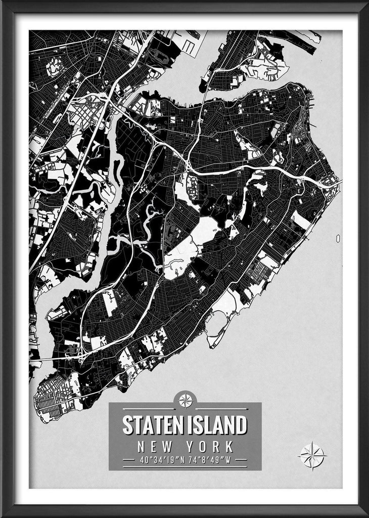 STATEN ISLAND New York Map with Coordinates