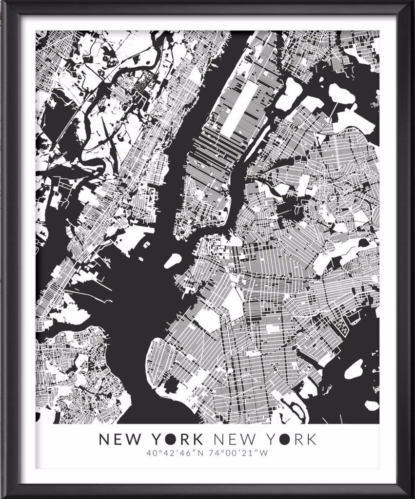 New York Map with Coordinates - Ideate Create Studio