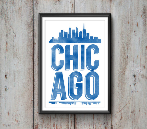 Chicago Typography Print, Chicago Print, Chicago Poster, Chicago Gift, Chicago Art, Chicago Pride, Chicago, Chicago Decor, Chicago Skyline - Ideate Create Studio - 3