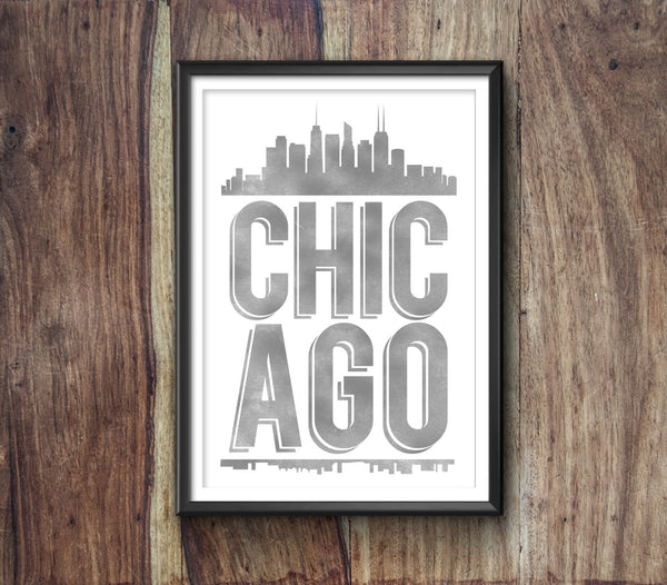 Chicago Typography Print, Chicago Print, Chicago Poster, Chicago Gift, Chicago Art, Chicago Pride, Chicago, Chicago Decor, Chicago Skyline - Ideate Create Studio - 2