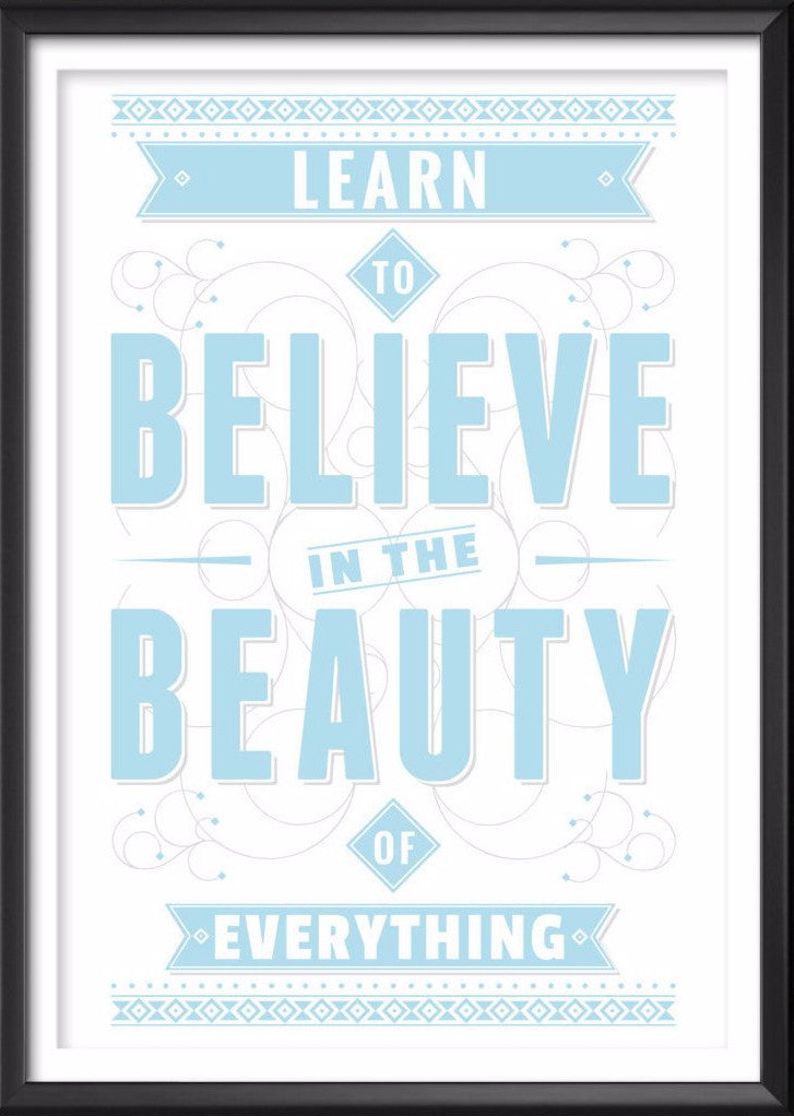 Learn To Believe Typography Print, Inspirational Quote Poster, Love Wall Art, Love Quote, Love Print, Love Quote Print, Adventure, Wall Art - Ideate Create Studio