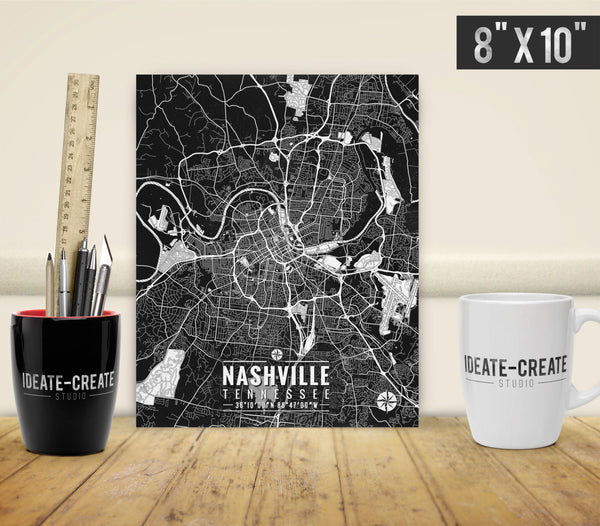 Nashville Map with Coordinates - Ideate Create Studio - 2