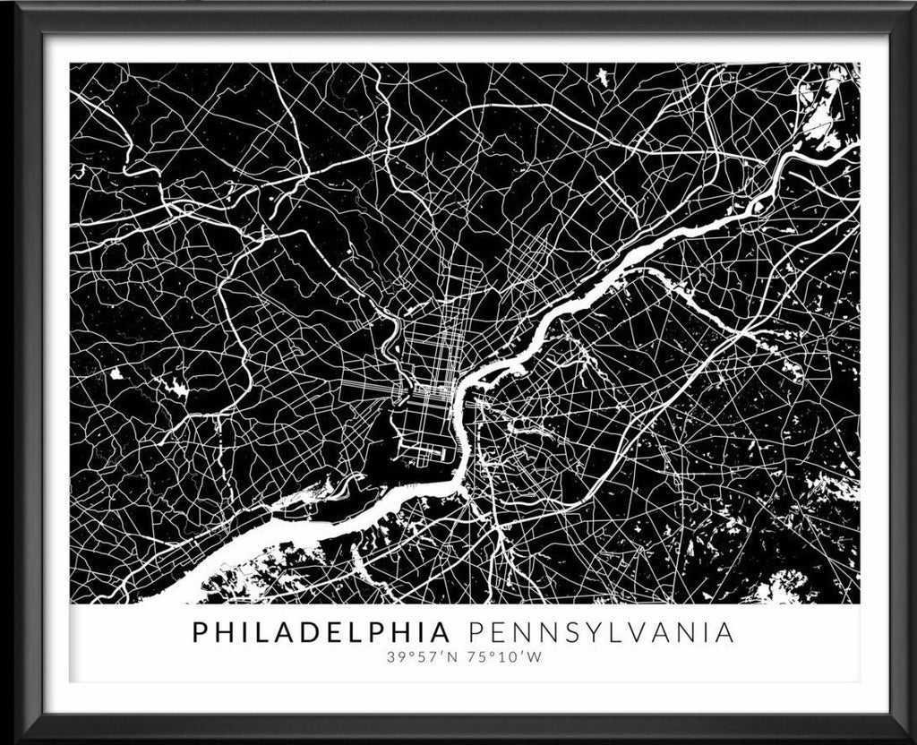 Philadelphia Map with Coordinates - Ideate Create Studio