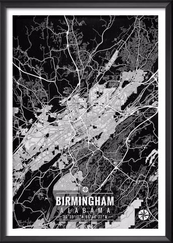 Birmingham Alabama Map with Coordinates | Ideate Create Studio - Ideate Create Studio - 1