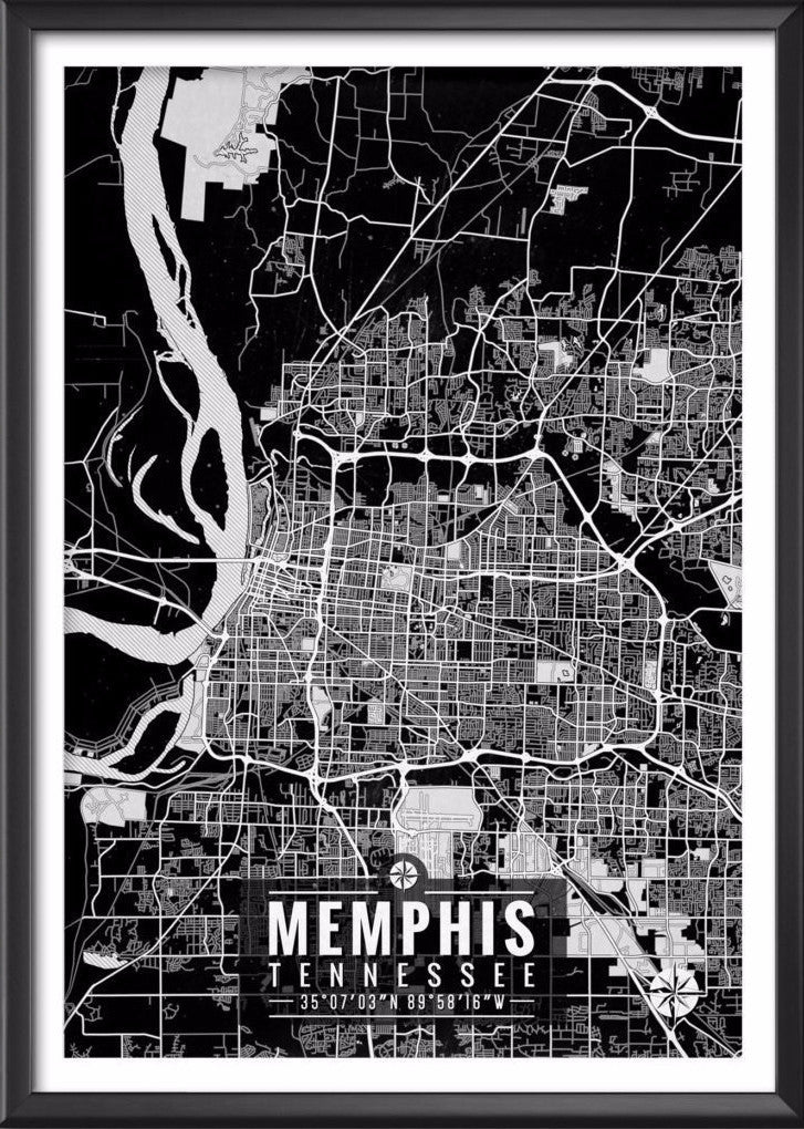 Memphis Tennessee Map with Coordinates - Ideate Create Studio