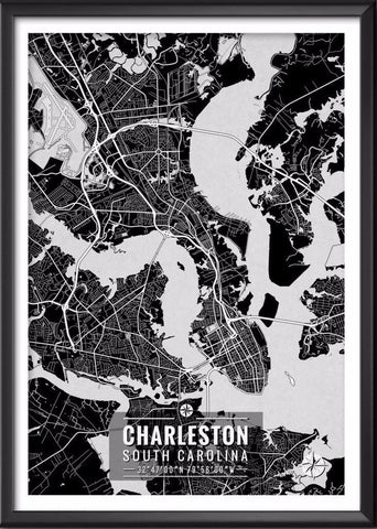 Charleston South Carolina Map with Coordinates | Ideate Create Studio - Ideate Create Studio