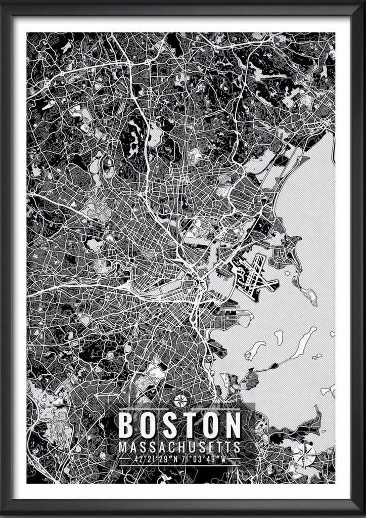 Boston Massachusetts Map With Coordinates Boston Wall Art Map Art