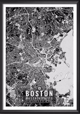 Boston Massachusetts Map with Coordinates