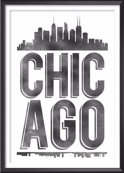 Chicago Typography Print, Chicago Print, Chicago Poster, Chicago Gift, Chicago Art, Chicago Pride, Chicago, Chicago Decor, Chicago Skyline - Ideate Create Studio