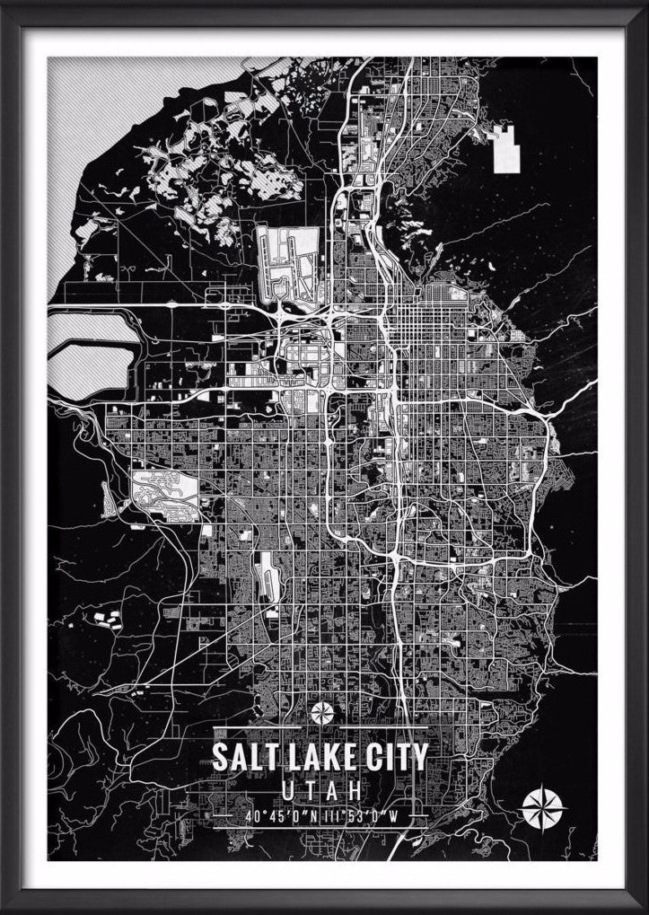 Salt Lake City Map with Coordinates - Ideate Create Studio