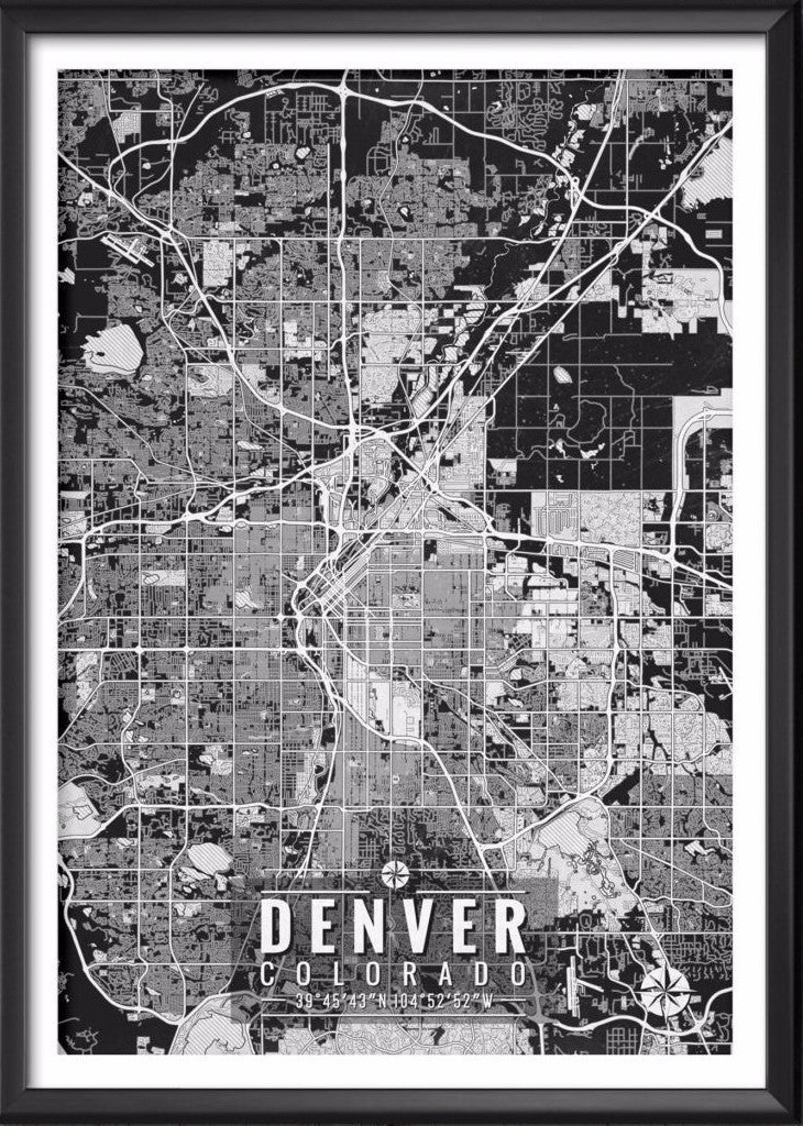 Denver Colorado Map with Coordinates | Ideate Create Studio - Ideate Create Studio