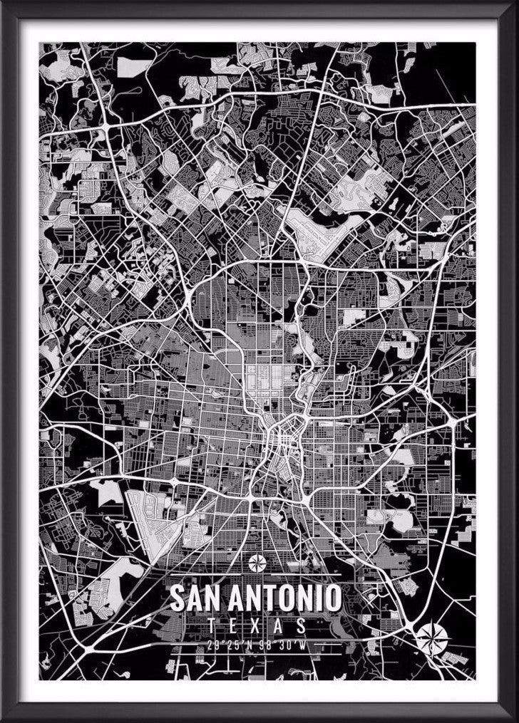 San Antonio Texas Map with Coordinates - Ideate Create Studio