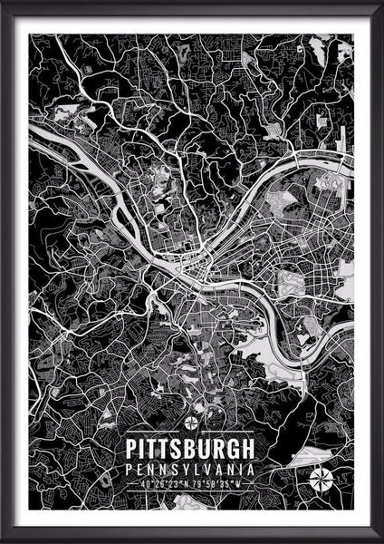 Pittsburgh Pennsylvania Map with Coordinates - Ideate Create Studio