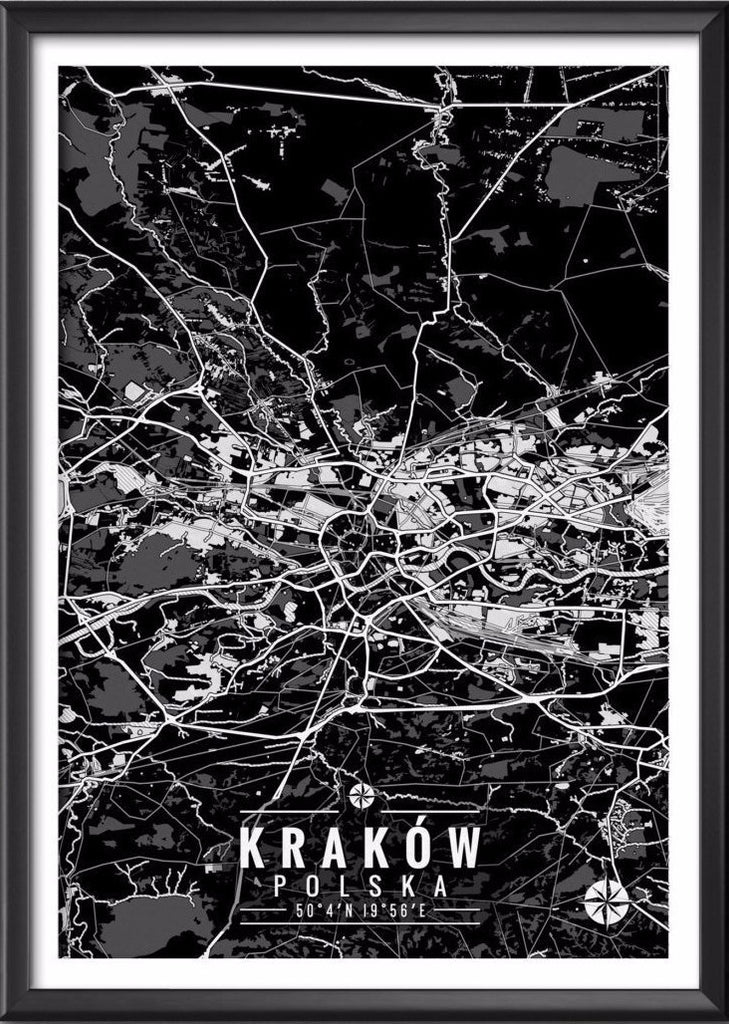 Cracow Poland Map with Coordinates - Ideate Create Studio