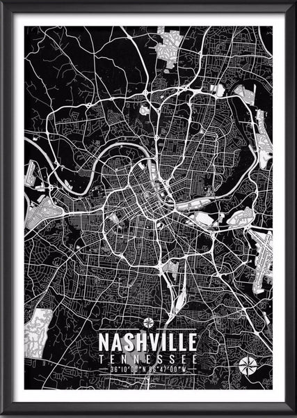 Nashville Map with Coordinates - Ideate Create Studio