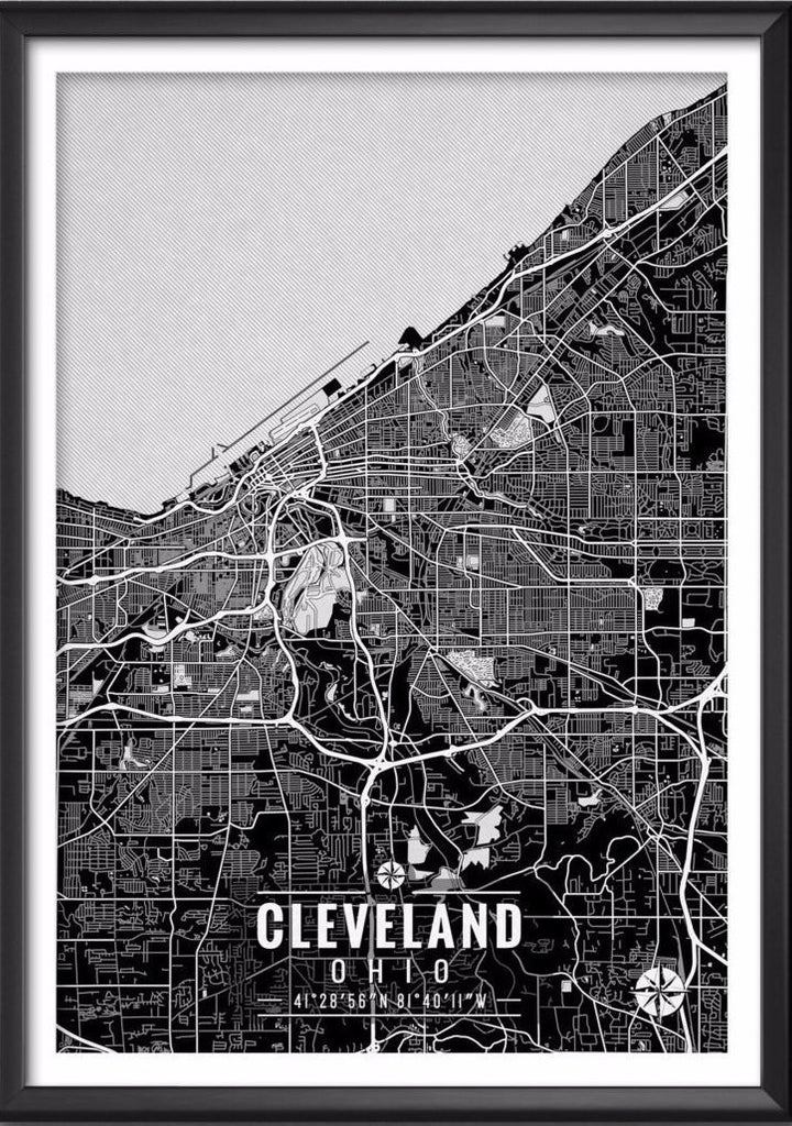 Cleveland Ohio Map with Coordinates | Ideate Create Studio - Ideate Create Studio