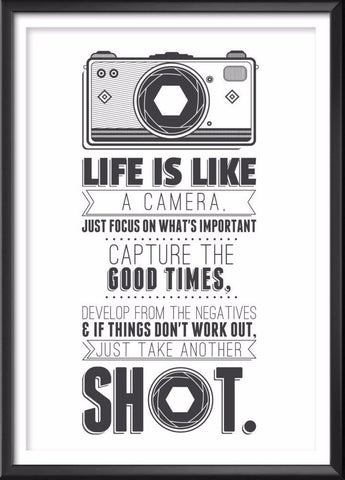 Camera Quote Print, Camera Poster, Camera Art, Camera Gift, Camera Print, Camera Illustration, Quote, Camera Decor, Retro, Hipster, Cool - Ideate Create Studio
