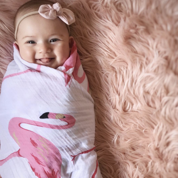 FLAMINGO 100% Organic Cotton Muslin Swaddle