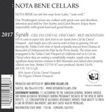2017 Syrah – Ciel du Cheval Vineyard : Red Mountain