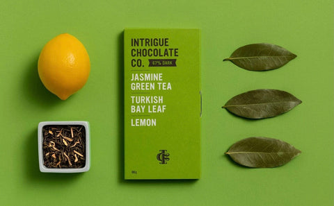 Intrigue Chocolate - Jasmine Green Tea, Turkish Bay Leaf, Lemon Bar