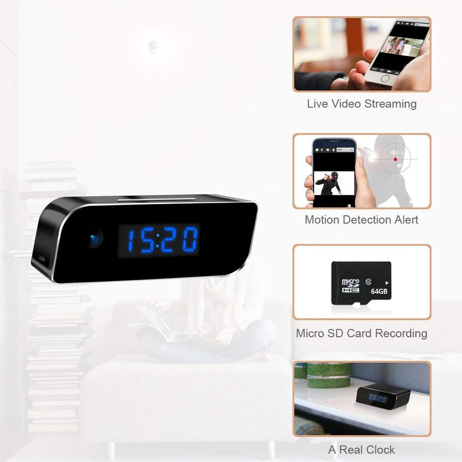 1080P WIFI Mini Camera Alarm Clock Wireless