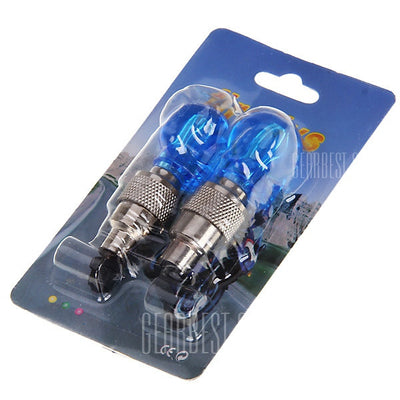 TWO Pcs Skull Tire Wheel Valve Cap Ultra Bright Blue LED Light