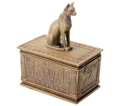 Ancient Egyptian Sandstone Bastet Cat Jewelry Trinket Box