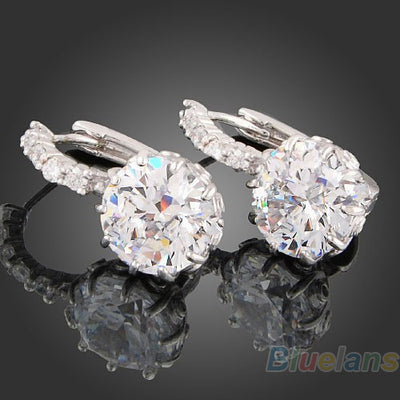 18k White Gold Gp Clear Swarovski Crystal Zircon Cz Earrings