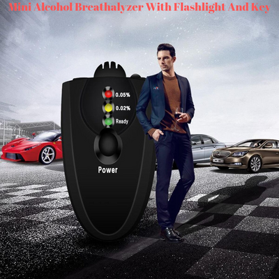 Mini Alcohol Breathalyzer With Flashlight And Key - D 1