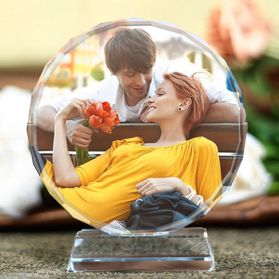 Personalised Round Shape Crystal Glass Photo Frame