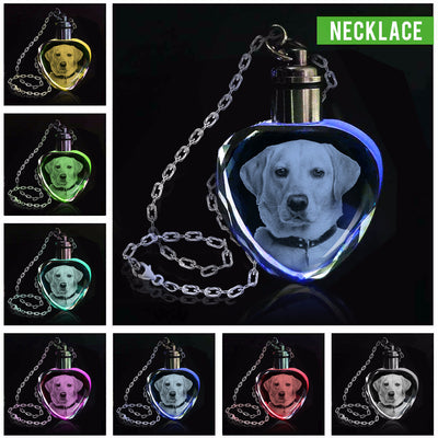 Personalized Laser Engraved Crystal Necklace And Keychain- DOGS