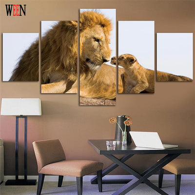 5 Pcs LION AND CUB WALL CANVAS