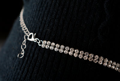 Rhinestone Double Choker Necklaces