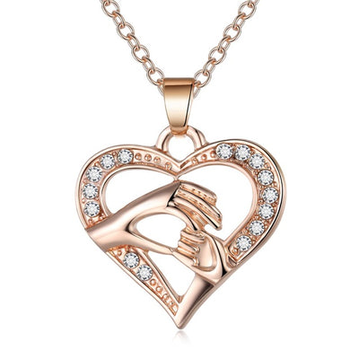 Golden Hand in hand Heart Necklace For MOM