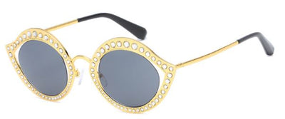 Rhinestone Oval Mirror Sunglasses
