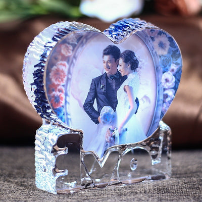 Personalised Heart Shape Crystal Glass Photo Frame