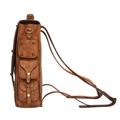 Vintage Retro Steampunk Backpack for Women - PU Leather