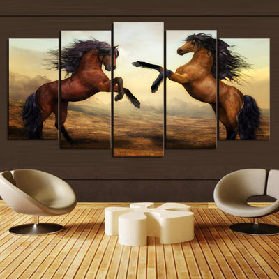 5 PCs HD HORSE FIGHTING CANVAS