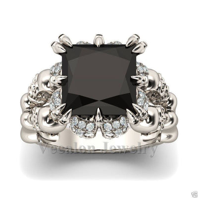 PRINCESS CUT SKULL RING WHITE GOLD