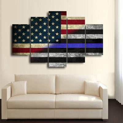 5 Pcs HD The Blue Line Wall Canvas