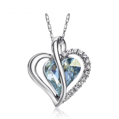 Rhinestone Blue Heart Necklace