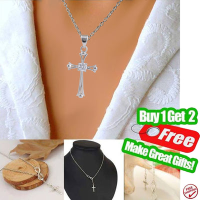 925 Sterling Silver Cross Necklace - Buy 1 Get 2 Free