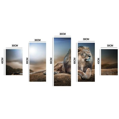 5 PIECES MODERN WALL CANVAS LION