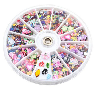 1200pcs Wheel Mixed Nail Art Tips Glitters Rhinestones