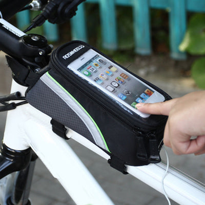 ROSWHEEL Bicycle Touch Screen Front Tube Frame Pannier Bag For Phone