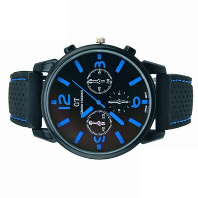 GT Men's Fashion Black Stainless Steel Luxury Sport Quartz WristWatch