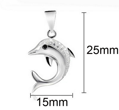 925 Sterling Silver Dolphin Necklace With Rhinestones
