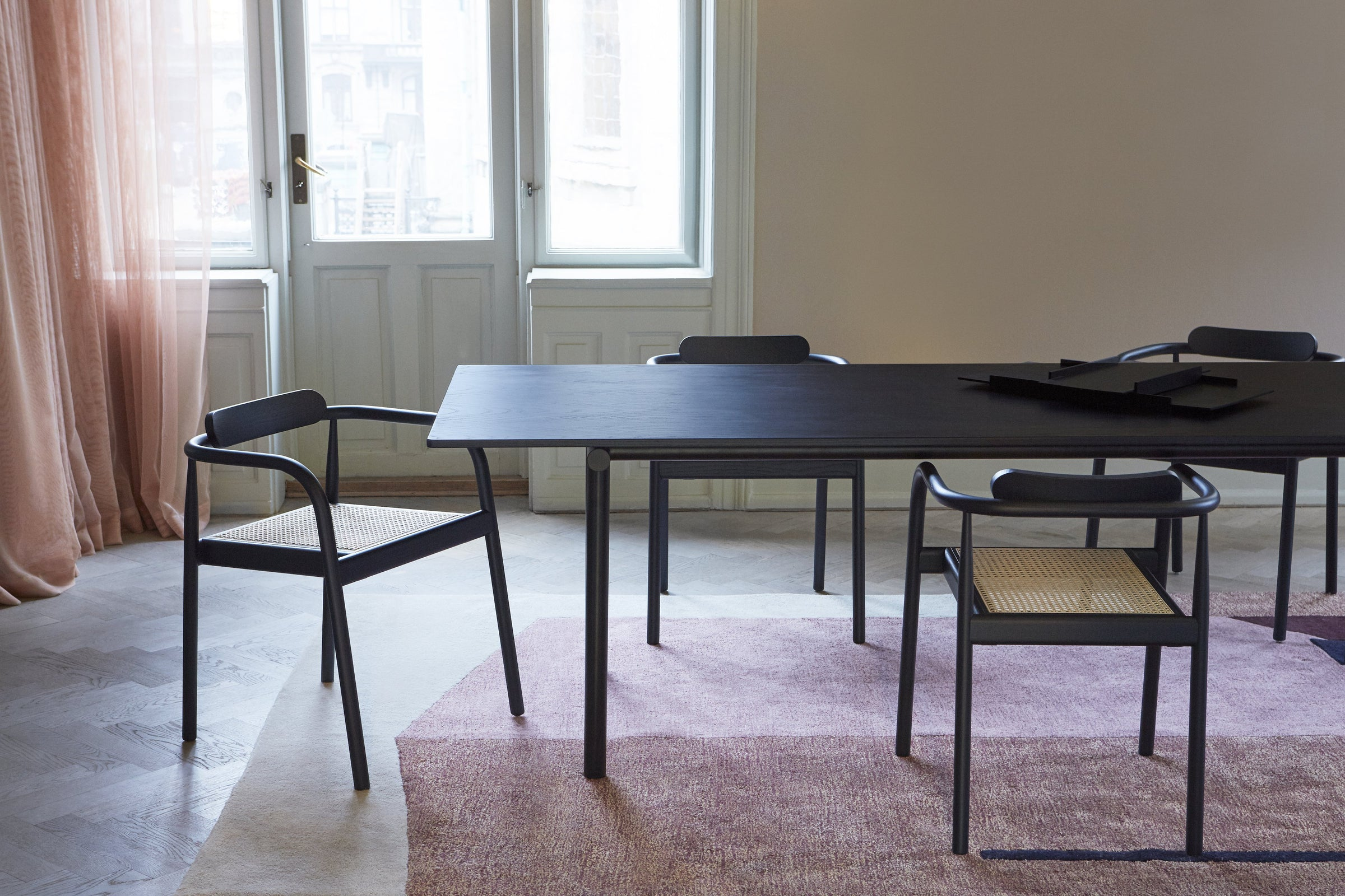 "Tubby Tube Table — 240cm/94""-Faye Toogood-Please Wait to be Seated-Black Steel-Black Ash-Average"